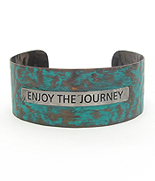 MESSAGE PATINA METAL BANGLE BRACELET - ENJOY THE JOURNEY