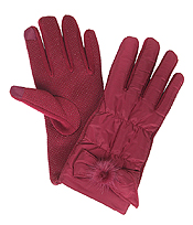 RIBBON DECO SHIRRING GLOVES - 100% POLYESTER
