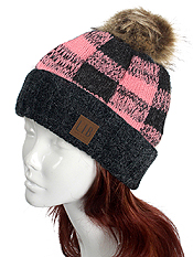 BUFFALO PLAID KNIT HAT - 100% ACRYLIC