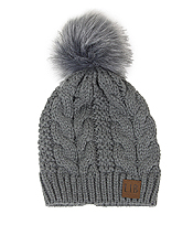 POMPOM CABLE KNIT HAT - 100% ACRYLIC