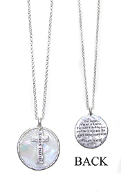 RELIGIOUS INSPIRATION MESSAGE ON MOP AND CROSS PENDANT NECKLACE - LORD'S PRAYER