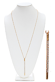 CRYSTAL STUD METAL BAR LONG NECKLACE