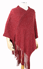BRUSHED SOFT KNIT PONCHO - 100% ACRLIC