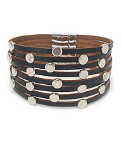 MULTI LAYER LEATHER AND METAL STUD MAGNETIC BRACELET