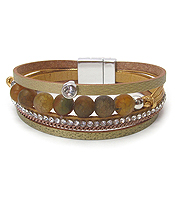 MULTI BALL STONE AND LEATHER MAGNETIC BRACELET
