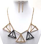 MULTI CONNETED METAL TUBS PYRAMID MOTIF DROP NECKLACE EARRING SET