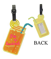 LARGE RUBBER LUGGAGE TAG - LEMONADE - I'M A BEACHHOLIC