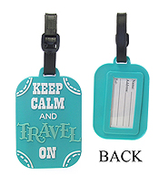 LARGE RUBBER LUGGAGE TAG - KEEP CALM AND TRAVEL ON