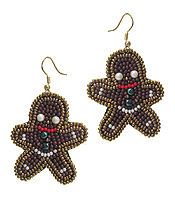 CHRISTMAS THEME MULTI SEED BEAD EARRING - GINGER BREAD