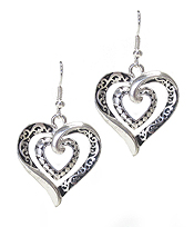 DESIGNER TEXTURED DOUBLE HEART EARRING