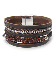 MULTI ROW LEATHERETTE MAGNETIC BRACELET