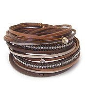 MULTI LAYER LEATHER DOUBLE WRAP MAGNETIC BRACELET