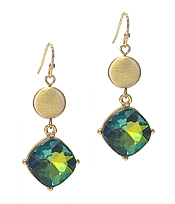 FACET STONE AND METAL DISC DROP EARRING