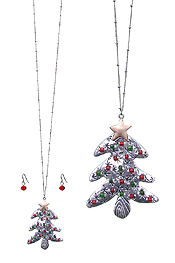 CHRISTMAS TREE PENDANT LONG NECKLACE SET