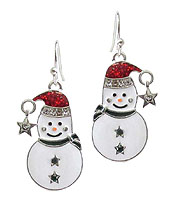 CRYSTAL AND EPOXY SNOWMAN EARRING