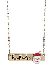 CHRISTMAS THEME SANTA PENDANT NECKLACE - HO HO HO