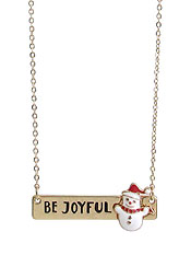 CHRISTMAS THEME SNOWMAN PENDANT NECKLACE - BE JOYFUL