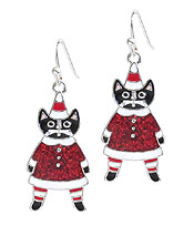 EPOXY SANTA CAT EARRING