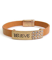 RELIGIOUS INSPIRATION LEATHERETTE MAGNETIC BRACELET - BELIEVE