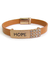 RELIGIOUS INSPIRATION LEATHERETTE MAGNETIC BRACELET - HOPE