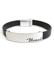 RELIGIOUS INSPIRATION LEATHERETTE MAGNETIC BRACELET - BLESSED