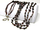NATURAL CHIP STONE AND MIXED BEADS LONG NECKLACE EARRING SET