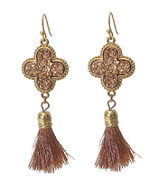 DRUZY QUATTROFOIL AND TASSEL DROP EARRING