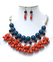 DOUBLE LAYER BEADS WITH TWISTED ROPE NECKLACE SET