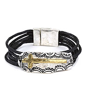 HANDMADE RELIGIOUS INSPIRATION  CROSS AND WAX CORD MAGNETIC BRACELET