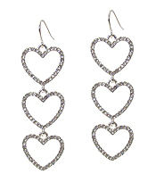 TRIPLE CRYSTAL HEART DROP EARRING