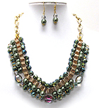 MULTI CRYSTAL GLASS AND PEARL WITH TUBE CHAIN NECKLACE EARRING SET