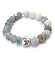 BALL AND FACET STONE MIX STRETCH BRACELET - FAITH