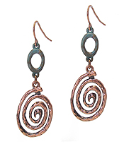 SWIRL METAL DROP EARRING