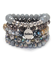 MULTI FACET GLASS BEAD MIX 5 LAYER STRETCH BRACELET SET - BELIEVE
