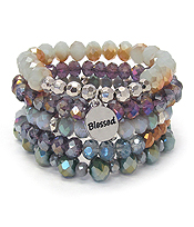 RELIGIOUS INSPIRATION MULTI FACET GLASS BEAD MIX 5 LAYER STRETCH BRACELET SET - BLESSED