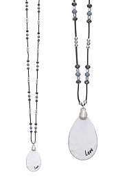 TEARDROP PENDANT AND MULTI BEAD LONG NECKLACE - LOVE