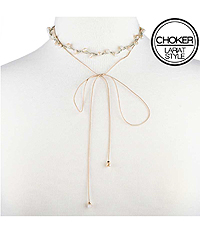 FACET STONE AND CORD LARIAT STYLE CHOKER NECKLACE