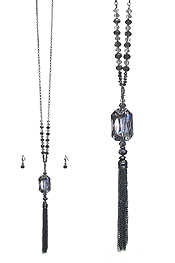 FACET GLASS AND FINE CHAIN TASSEL DROP LONG NECKLACE SET