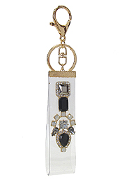 CRYSTAL ON CLEAR ACRYLIC BAND KEY CHAIN