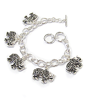 TEXTURED ELEPHANT CHARM TOGGLE BRACELET