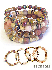 MULTI GLASS AND WOOD MIX BEAD 4 STRETCH BRACELET SET