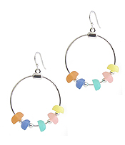 SEALIFE THEME SEAGLASS WIRE HOOP EARRING