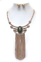 OVAL STONE AND LONG TASSEL DROP NECKLACE SET