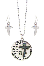 RELIGIOUS INSPIRATION MESSAGE PENDANT NECKLACE SET - WITH GOD ALL THINGS ARE POSSIBLE