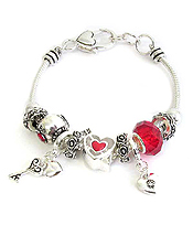 EURO STYLE MULTI BEAD AND CHARM BRACELET - HEART