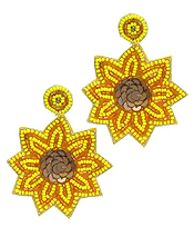 MULTI SEEDBEAD AND SEQUIN SUNFLOWER EARRING