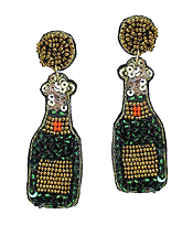 HANDMADE MULTI SEEDBEAD CHAMPAGNE BOTTLE EARRING