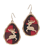 CHRISTMAS THEME REINDEER BUFFALO PLAID PATTERN TEARDROP EARRING - RUDOLF