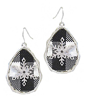 CHRISTMAS THEME BUFFALO PLAID PATTERN TEARDROP EARRING - SNOWFLAKE