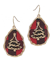 CHRISTMAS THEME BUFFALO PLAID PATTERN TEARDROP EARRING - TREE